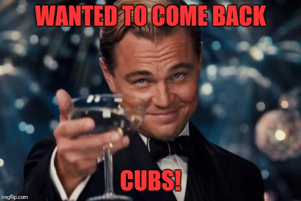 Leonardo Dicaprio Cheers Meme | WANTED TO COME BACK CUBS! | image tagged in memes,leonardo dicaprio cheers | made w/ Imgflip meme maker