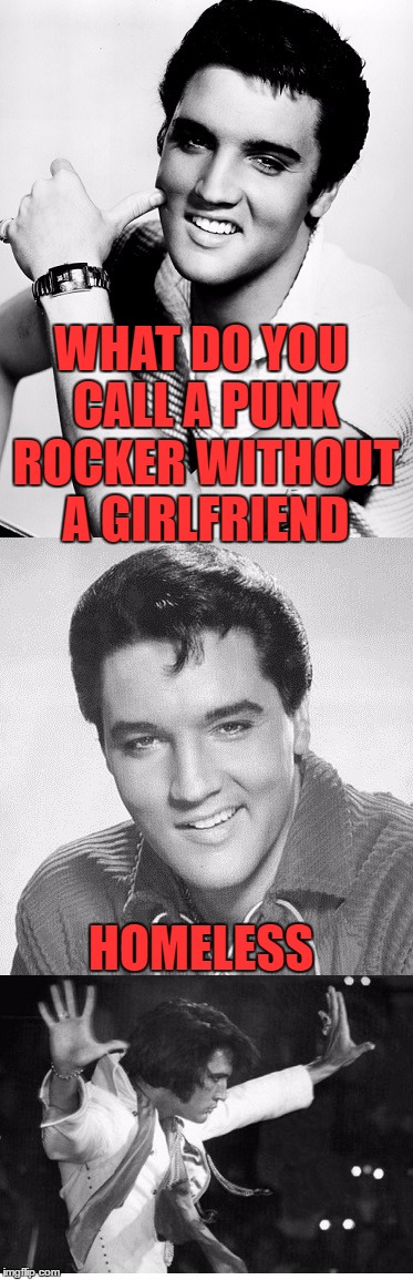 He's not dead.  He's just getting started | WHAT DO YOU CALL A PUNK ROCKER WITHOUT A GIRLFRIEND HOMELESS | image tagged in elvis,memes,music,punk rock | made w/ Imgflip meme maker