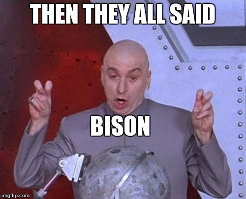 Dr Evil Laser Meme | THEN THEY ALL SAID BISON | image tagged in memes,dr evil laser | made w/ Imgflip meme maker