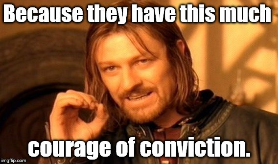 One Does Not Simply Meme | Because they have this much courage of conviction. | image tagged in memes,one does not simply | made w/ Imgflip meme maker