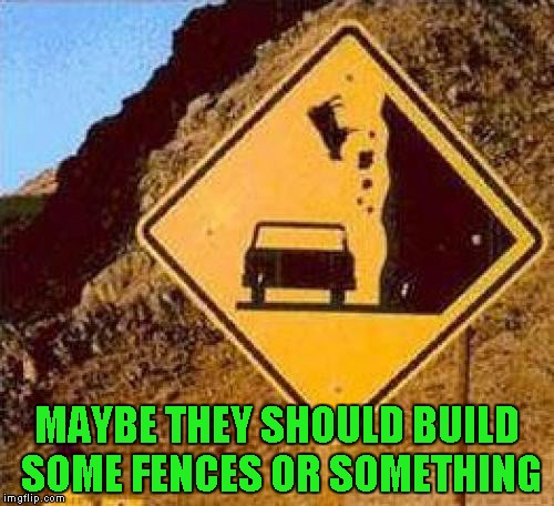Save the cows!!! | MAYBE THEY SHOULD BUILD SOME FENCES OR SOMETHING | image tagged in falling cows,memes,funny signs,signs,funny | made w/ Imgflip meme maker