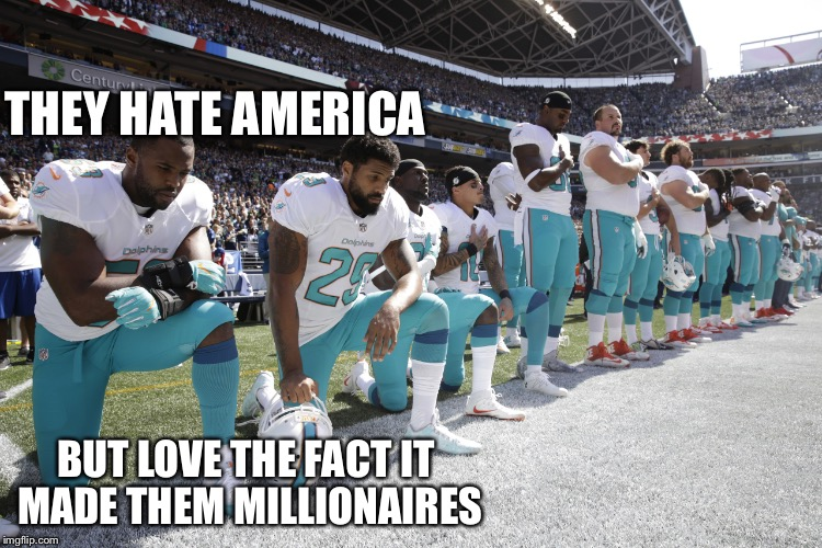 NFL scumbags | THEY HATE AMERICA BUT LOVE THE FACT IT MADE THEM MILLIONAIRES | image tagged in nfl scumbags | made w/ Imgflip meme maker