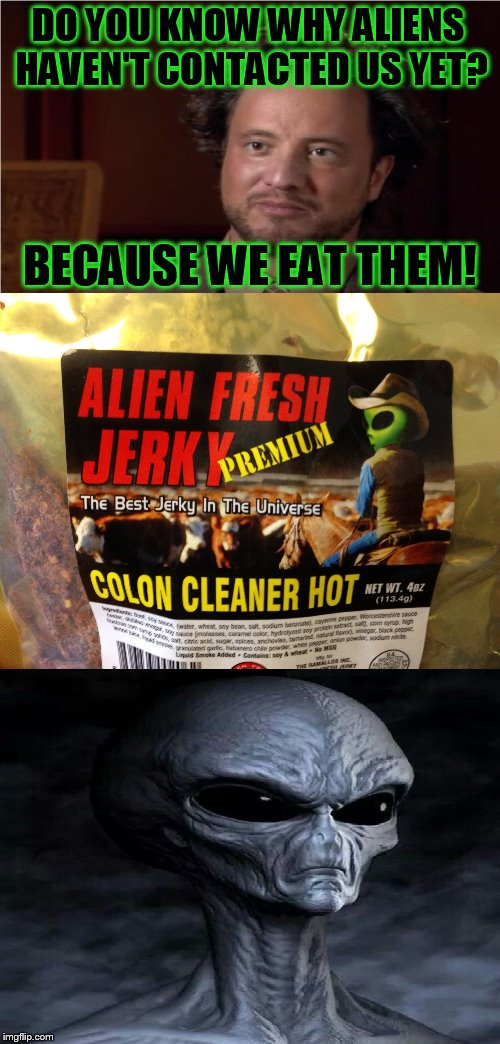 Bad Pun Aliens Guy | DO YOU KNOW WHY ALIENS HAVEN'T CONTACTED US YET? BECAUSE WE EAT THEM! | image tagged in bad pun aliens guy,ancient aliens,alien jerky,funny meme,eating aliens,laughs | made w/ Imgflip meme maker