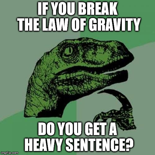 If You Break The Law Of Gravity... | IF YOU BREAK THE LAW OF GRAVITY DO YOU GET A HEAVY SENTENCE? | image tagged in memes,philosoraptor,it came from the comments,the law of gravity,heavy sentence,is this a clue | made w/ Imgflip meme maker