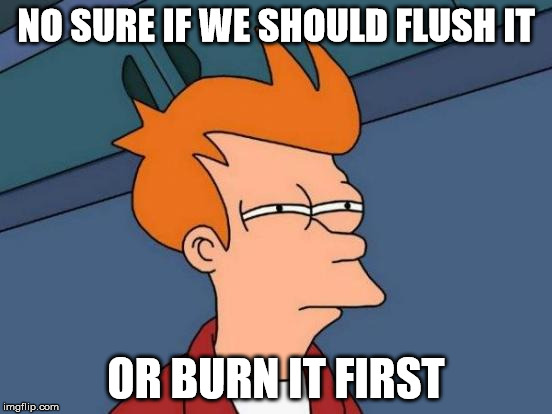 Futurama Fry Meme | NO SURE IF WE SHOULD FLUSH IT OR BURN IT FIRST | image tagged in memes,futurama fry | made w/ Imgflip meme maker