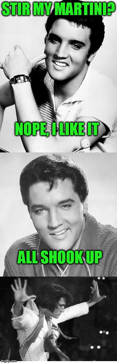 wait for it | STIR MY MARTINI? ALL SHOOK UP NOPE, I LIKE IT | image tagged in elvis presley | made w/ Imgflip meme maker