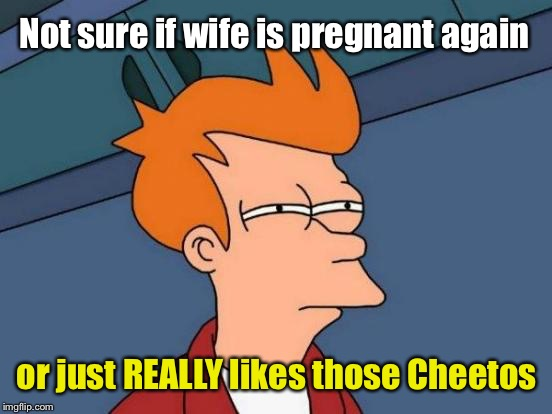 Futurama Fry Meme | Not sure if wife is pregnant again or just REALLY likes those Cheetos | image tagged in memes,futurama fry | made w/ Imgflip meme maker