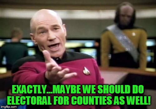 Picard Wtf Meme | EXACTLY...MAYBE WE SHOULD DO ELECTORAL FOR COUNTIES AS WELL! | image tagged in memes,picard wtf | made w/ Imgflip meme maker