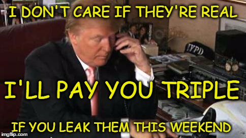 Leaked E-Mails | I DON'T CARE IF THEY'RE REAL IF YOU LEAK THEM THIS WEEKEND I'LL PAY YOU TRIPLE | image tagged in e-mails,trump 2016,never trump,putin's puppet,election 2016,2016 election | made w/ Imgflip meme maker