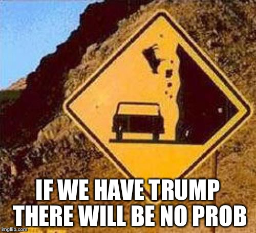 Falling Cows |  IF WE HAVE TRUMP THERE WILL BE NO PROB | image tagged in falling cows | made w/ Imgflip meme maker