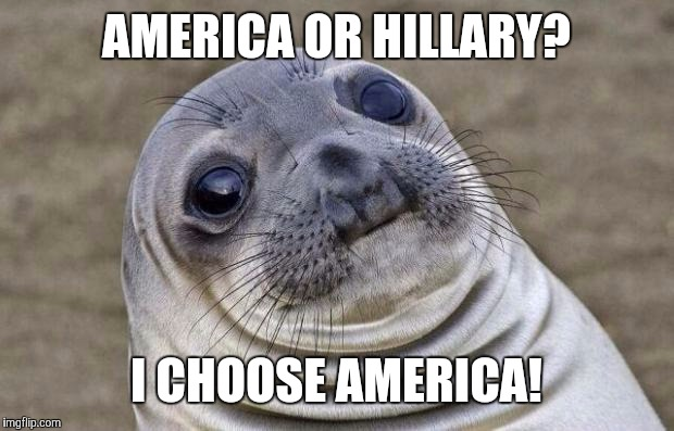 Awkward Moment Sealion Meme | AMERICA OR HILLARY? I CHOOSE AMERICA! | image tagged in memes,awkward moment sealion | made w/ Imgflip meme maker