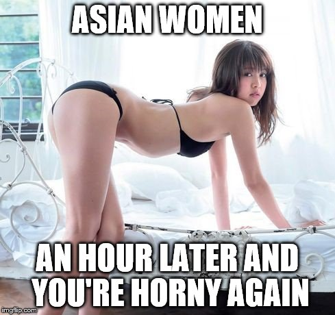 Never had one | ASIAN WOMEN AN HOUR LATER AND YOU'RE HORNY AGAIN | image tagged in much wow | made w/ Imgflip meme maker
