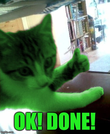 thumbs up RayCat | OK! DONE! | image tagged in thumbs up raycat | made w/ Imgflip meme maker