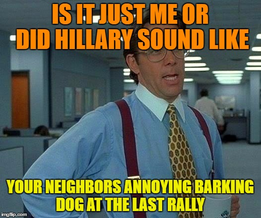 That Would Be Great Meme | IS IT JUST ME OR DID HILLARY SOUND LIKE YOUR NEIGHBORS ANNOYING BARKING DOG AT THE LAST RALLY | image tagged in memes,that would be great | made w/ Imgflip meme maker