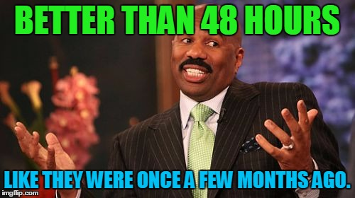 Steve Harvey Meme | BETTER THAN 48 HOURS LIKE THEY WERE ONCE A FEW MONTHS AGO. | image tagged in memes,steve harvey | made w/ Imgflip meme maker