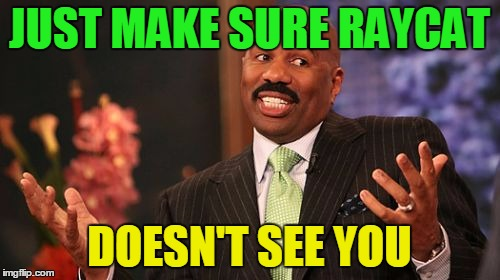 Steve Harvey Meme | JUST MAKE SURE RAYCAT DOESN'T SEE YOU | image tagged in memes,steve harvey | made w/ Imgflip meme maker