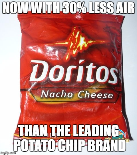 NOW WITH 30% LESS AIR THAN THE LEADING POTATO CHIP BRAND | made w/ Imgflip meme maker