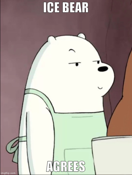 We Bare Bears Ice Bear Smug | ICE BEAR AGREES | image tagged in we bare bears ice bear smug | made w/ Imgflip meme maker