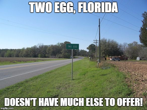 TWO EGG, FLORIDA DOESN'T HAVE MUCH ELSE TO OFFER! | made w/ Imgflip meme maker