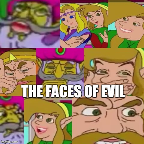 The faces of evil | THE FACES OF EVIL | image tagged in zelda cdi,faces of evil,video games,legend of zelda | made w/ Imgflip meme maker