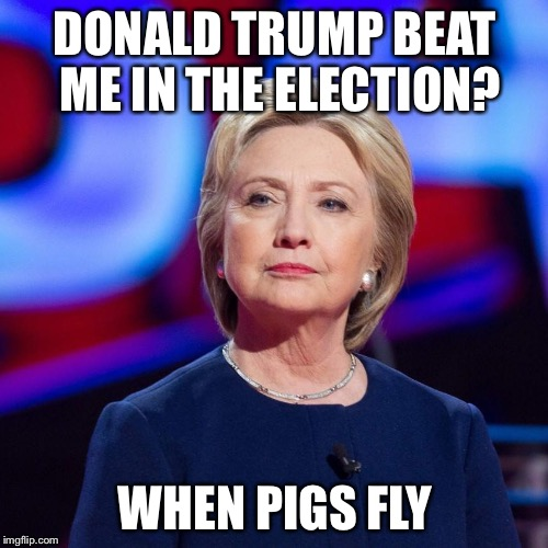 Lying Hillary Clinton | DONALD TRUMP BEAT ME IN THE ELECTION? WHEN PIGS FLY | image tagged in lying hillary clinton | made w/ Imgflip meme maker
