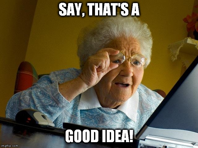Grandma Finds The Internet Meme | SAY, THAT'S A GOOD IDEA! | image tagged in memes,grandma finds the internet | made w/ Imgflip meme maker