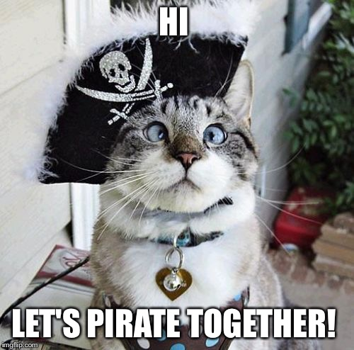 Spangles | HI LET'S PIRATE TOGETHER! | image tagged in memes,spangles | made w/ Imgflip meme maker