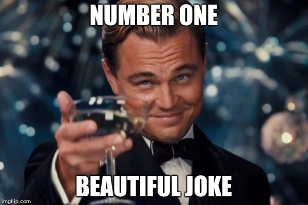 Leonardo Dicaprio Cheers Meme | NUMBER ONE BEAUTIFUL JOKE | image tagged in memes,leonardo dicaprio cheers | made w/ Imgflip meme maker