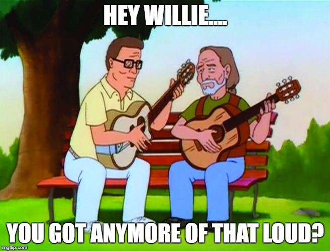 Hey Willie..... | HEY WILLIE.... YOU GOT ANYMORE OF THAT LOUD? | image tagged in hank willie,hank hill,willie nelson,weed,guitars | made w/ Imgflip meme maker