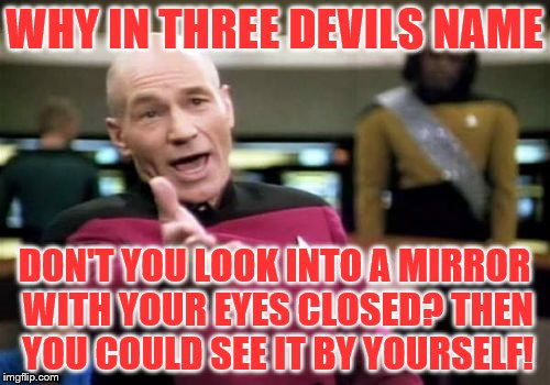 Picard Wtf Meme | WHY IN THREE DEVILS NAME DON'T YOU LOOK INTO A MIRROR WITH YOUR EYES CLOSED? THEN YOU COULD SEE IT BY YOURSELF! | image tagged in memes,picard wtf | made w/ Imgflip meme maker