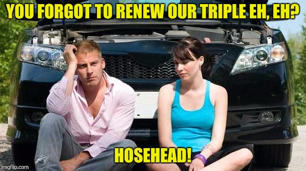 YOU FORGOT TO RENEW OUR TRIPLE EH, EH? HOSEHEAD! | made w/ Imgflip meme maker