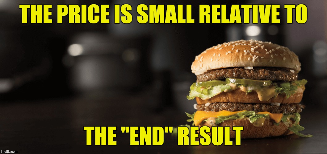 "THE PRICE IS SMALL RELATIVE TO THE ""END"" RESULT 
