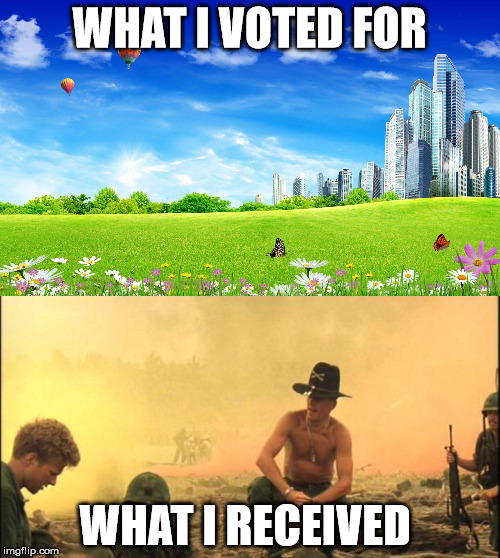 WHAT I VOTED FOR WHAT I RECEIVED | made w/ Imgflip meme maker