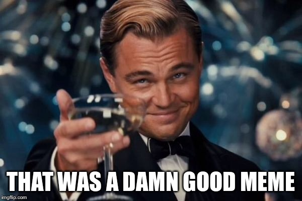 Leonardo Dicaprio Cheers Meme | THAT WAS A DAMN GOOD MEME | image tagged in memes,leonardo dicaprio cheers | made w/ Imgflip meme maker