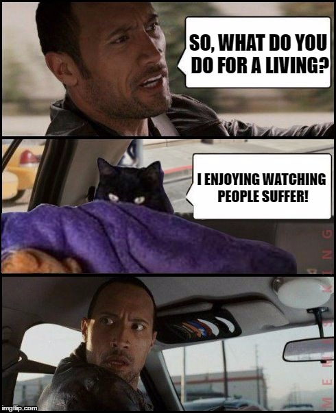 The Rock Driving Evil Cat | Template By taclivE | SO, WHAT DO YOU DO FOR A LIVING? I ENJOYING WATCHING PEOPLE SUFFER! | image tagged in the rock driving evil cat,memes,funny,people,suffer,living | made w/ Imgflip meme maker