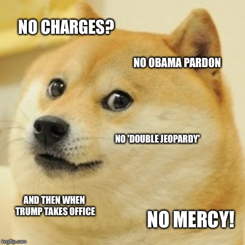 Doge Meme | NO CHARGES? NO OBAMA PARDON NO 'DOUBLE JEOPARDY' AND THEN WHEN TRUMP TAKES OFFICE NO MERCY! | image tagged in memes,doge | made w/ Imgflip meme maker