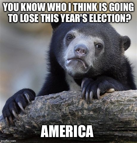 Confession Bear Meme | YOU KNOW WHO I THINK IS GOING TO LOSE THIS YEAR'S ELECTION? AMERICA | image tagged in memes,confession bear | made w/ Imgflip meme maker