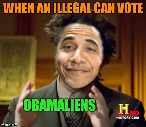 WHEN AN ILLEGAL CAN VOTE OBAMALIENS | made w/ Imgflip meme maker