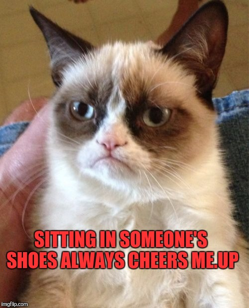 Grumpy Cat Meme | SITTING IN SOMEONE'S SHOES ALWAYS CHEERS ME.UP | image tagged in memes,grumpy cat | made w/ Imgflip meme maker