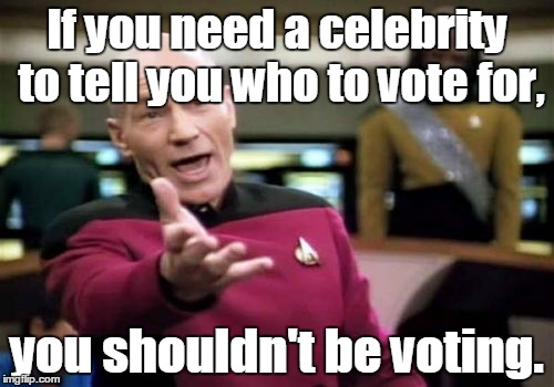 Picard Wtf Meme | If you need a celebrity to tell you who to vote for, you shouldn't be voting. | image tagged in memes,picard wtf | made w/ Imgflip meme maker