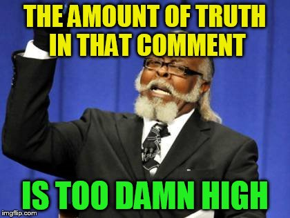 Too Damn High Meme | THE AMOUNT OF TRUTH IN THAT COMMENT IS TOO DAMN HIGH | image tagged in memes,too damn high | made w/ Imgflip meme maker