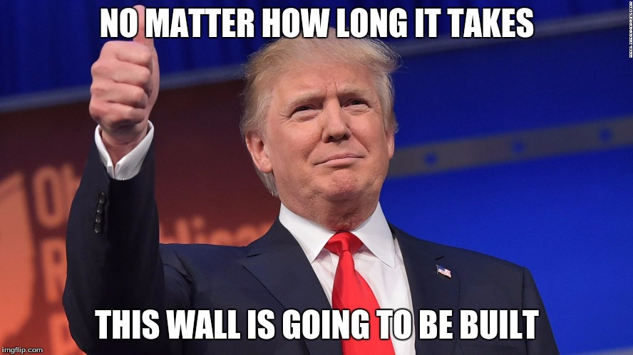 Donald Trump Is Proud | NO MATTER HOW LONG IT TAKES THIS WALL IS GOING TO BE BUILT | image tagged in donald trump is proud | made w/ Imgflip meme maker