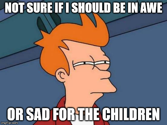 Futurama Fry Meme | NOT SURE IF I SHOULD BE IN AWE OR SAD FOR THE CHILDREN | image tagged in memes,futurama fry | made w/ Imgflip meme maker