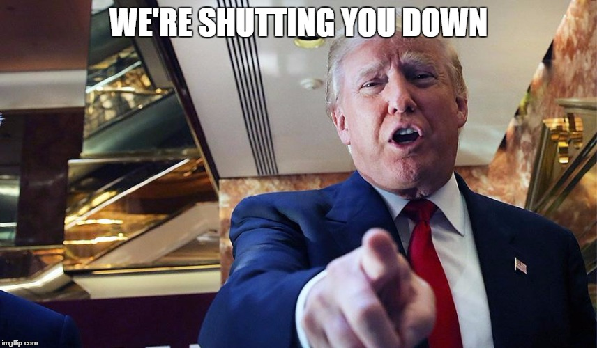 Trump Burn | WE'RE SHUTTING YOU DOWN | image tagged in trump burn | made w/ Imgflip meme maker