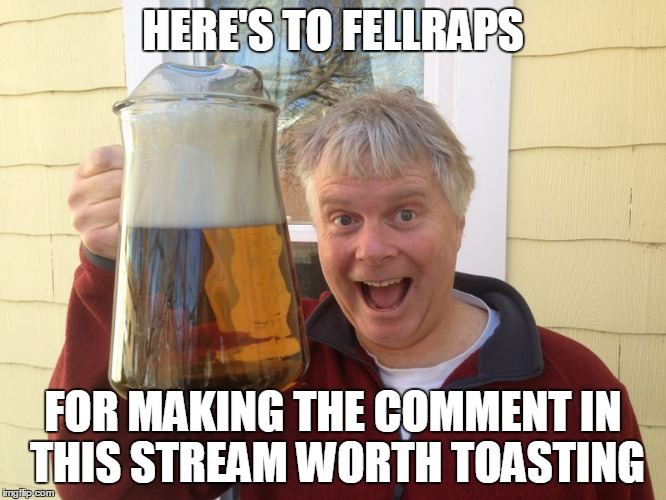 HERE'S TO FELLRAPS FOR MAKING THE COMMENT IN THIS STREAM WORTH TOASTING | made w/ Imgflip meme maker