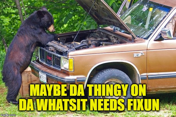I Got This |  MAYBE DA THINGY ON DA WHATSIT NEEDS FIXUN | image tagged in memes,bear,breakdown,car,mechanic | made w/ Imgflip meme maker