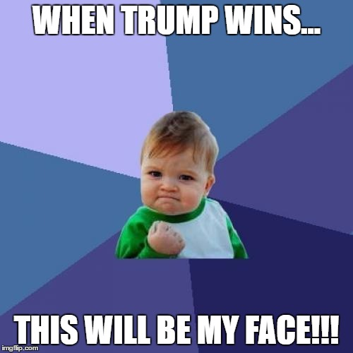 Success Kid Meme | WHEN TRUMP WINS... THIS WILL BE MY FACE!!! | image tagged in memes,success kid | made w/ Imgflip meme maker