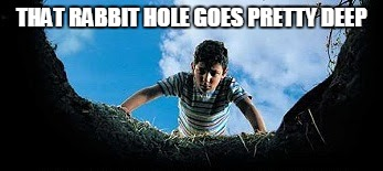 Hole in Ground | THAT RABBIT HOLE GOES PRETTY DEEP | image tagged in hole in ground | made w/ Imgflip meme maker