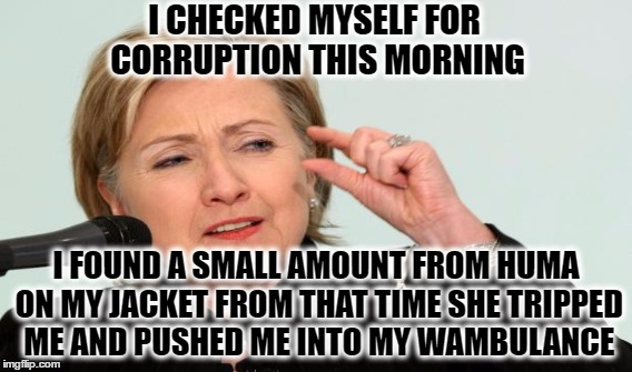 I CHECKED MYSELF FOR CORRUPTION THIS MORNING I FOUND A SMALL AMOUNT FROM HUMA ON MY JACKET FROM THAT TIME SHE TRIPPED ME AND PUSHED ME INTO  | made w/ Imgflip meme maker