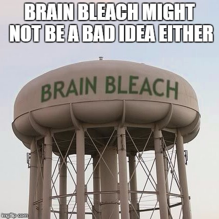 Brain Bleach Tower | BRAIN BLEACH MIGHT NOT BE A BAD IDEA EITHER | image tagged in brain bleach tower | made w/ Imgflip meme maker